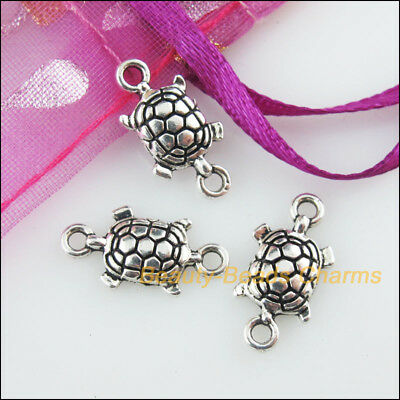 20 New Charms Animal Tortoise Tibetan Silver Tone Pendants Connectors 9x17mm