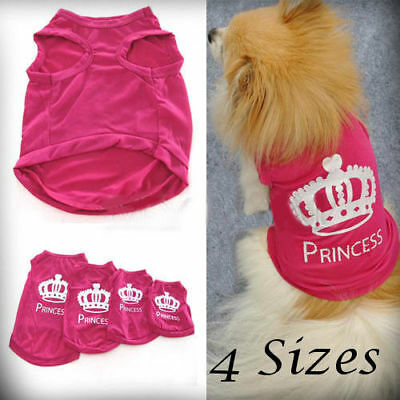 Pet Dog Cat Cute Princess T-shirt Clothes Vest Coat Puppy Costumes Outfit
