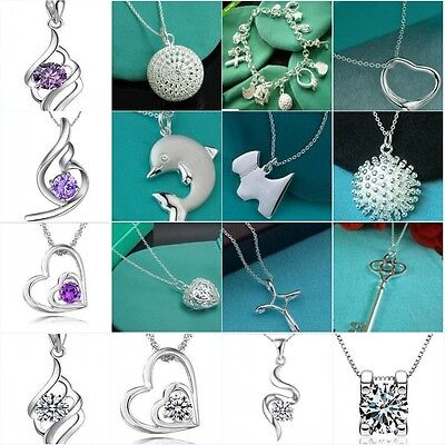 HOT Wholesale Lady /Women's 925 silver Pendant necklace jewelry great Gift