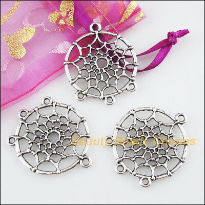 3 New Round Flower Connectors Tibetan Silver Tone Charms Pendants 28x33mm