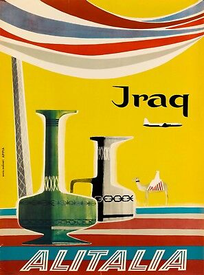 Iraq Alitalia Vintage Airlines Airline Travel Advertisement Art Poster Print