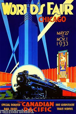 World's Fair Chicago Canadian Pacific Railroad Travel Advertisement Art Poster
