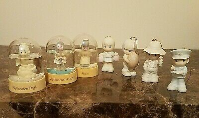 Precious Moments 1980s Lot of 7 - 3 Snow Globe Domes and 4 Christmas Ornaments