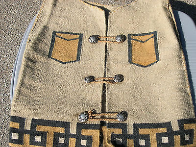 Vintage Two Gray Hills Navajo Vest with Coin Silver Buttons.