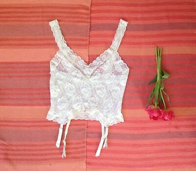 """Vintage 90s Lacey Cami Suspenders 36"""" Bust St Michael Elasticated Stretch UK 14"""