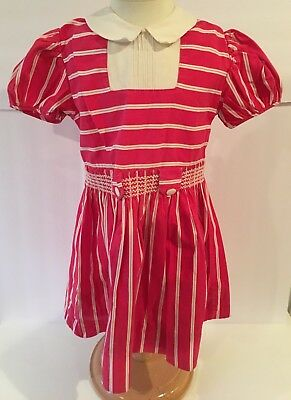 VINTAGE Tagged DE LUXE HONEYSUCKLE Girls Red White Striped Dress Smocked Waist