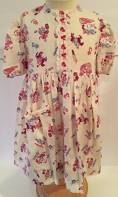 VINTAGE Girls Dress w/ Soldier Horse Ship Torch Etc Print & Embroidered Trim