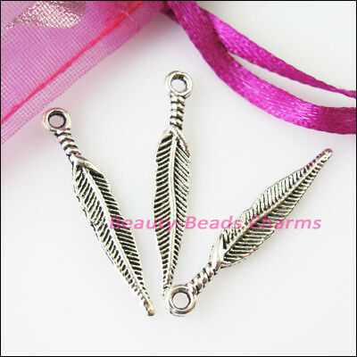 25 New Feather Leaf Tibetan Silver Tone Charms Pendants 4.5x28.5mm