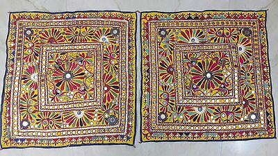 Antique Pair Of Rabari Fine Hand Embroidery Mirror Tribal Tapestry Table Cover