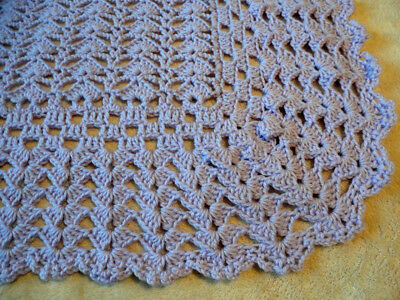 "WONDERFUL MAUVE CROCHETED BABY BLANKET 33""x44"" WITH A BEAUTIFUL WIDE BORDER"