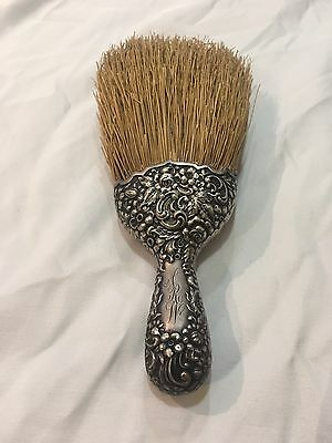 Vintage Antique Sterling Silver Table Crumb Brush Rose Repousse Pattern Vanity