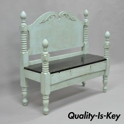 """Repurposed Antique Wood Bed Foyer Entry Bench Shabby Distress Painted Blue 42"""""""