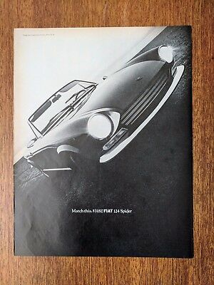 1968 Vintage Print Ad FIAT Spider 124 Automobile Classic Cars Driving