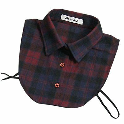Joyci New Classic Decor Plaids Dickey Blouse Faux Collar Removable Grid A Wine