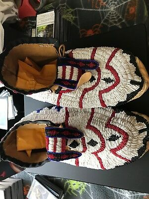 Fully Beaded Native American Hand Made Moccasins Adult Size