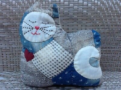 Vintage Handmade Patchwork Quilted Bean Stuffed Cat