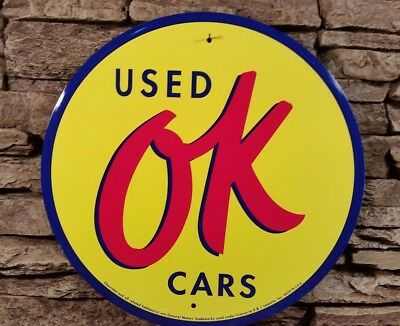 "GM OK Used Cars Sign 12"" Round Garage Man Cave Garage Chevy Chevrolet 41-RD-14"