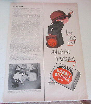 1955 original ad Dubble Bubble Gum cute Boy Trick or Treating Halloween 1/2 page