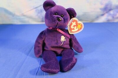 RARE* 1st Edition 1997 TY Princess Diana Beanie Baby, Made in China, P.E Pellets