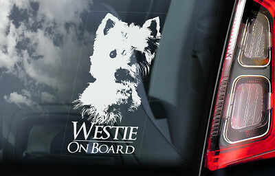 Westie - Car Window Sticker - Dog on Board Decal West Highland White Terrier V01