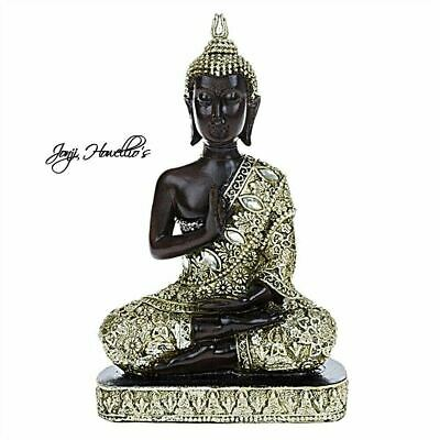 THAI BUDDHA MEDITATING Sitting Silver /Gold Ornament Figure Statue Figurine Gift