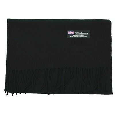 Men Women unisex 100% CASHMERE Warm PLAIN Scarf pure solid Wool SCOTLAND Black
