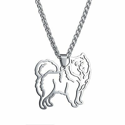Stainless Steel Samoyed Sammy Smiley Bjelkier Dog Outilne Charm Pendant Necklace