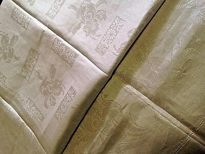 Vintage Linen Damask Tablecloth w 12 Matching Napkins