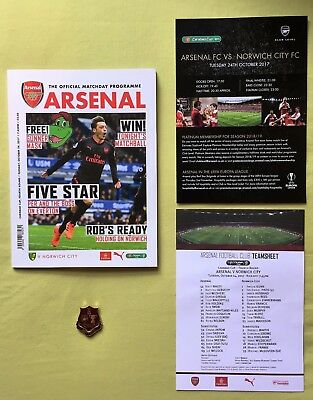 OFFICIAL Carabao Cup Arsenal vs Norwich Program, Met.Badge, T/Sheet, C/L/S/Sheet