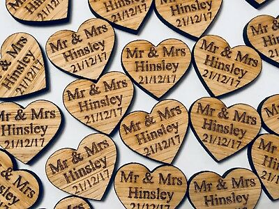 Wooden Oak Love Heart Table Decorations Personalised Wedding Favours Confetti