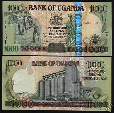 Uganda 1000 Shillings P43 2005 Horse Truck Unc Africa Currency Money Bill Note
