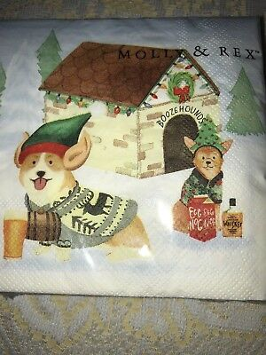 Molly & Rex 40 Cocktail Beverage Napkins HOLIDAY Corgi Dog Booze Hounds New NIP