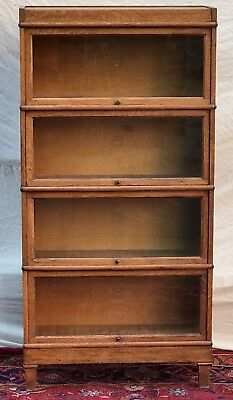 Mission Oak Macy Four Section Tiger Oak Barrister Bookcase-Encyclopedia Sized