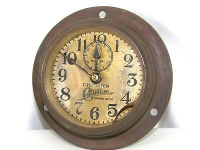 CADILLAC CH FOSTER RIM WIND CLASSIC CAR CLOCK 1910's PHINNEY WALKER 8 DAY