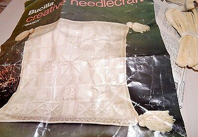"""Bucilla Pillow Linen Crewel Long Stitch Wool Embroidery Kit Vintage 14"""" Square"""