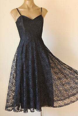 VINTAGE 80's FRENCH LACE SWINGY HALF CIRCLE SWING PARTY DRESS 8
