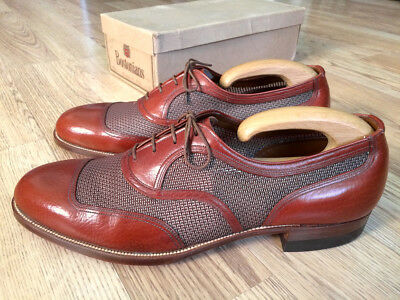 Vintage 1940's 1950's Bostonian Leather Mesh Spectators Shoes! Brown 11 D/B