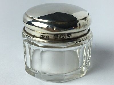 Antique Facet Cut Crystal w/ Sterling Silver Lid Powder Jar
