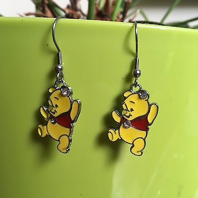Unusual Winnie The Pooh  Charm Earrings Free Organza Gift Bag Christmas Present