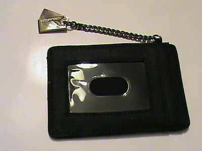 NWOT Jones New York black canvas ID window credit card holder wallet chain