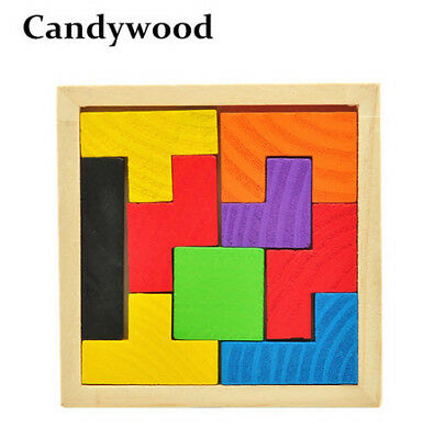 Wooden Tetris Game Educational Jigsaw Puzzle Toys Wood Tangram Brain-Teaser Puzz