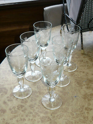 Set Of Etched Grapes Sherry Port Liqueur Glasses 30s 40s 50s Vintage Drink Glass