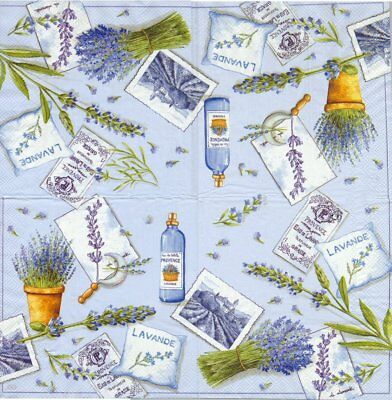 Lot de 2 Serviettes en papier Lavande Decoupage Collage Decopatch