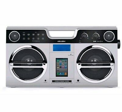 Bush DAB/FM Bluetooth Retro Boombox with iPod/iPhone Docking Station Silver. New