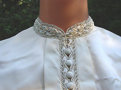 Vintage 50s Collar Bib Satin EC  Silver Embroidery Buttons Dickie