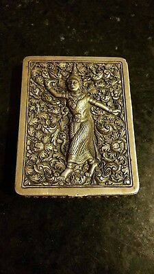 VINTAGE SOLID SILVER -INDIAN SILVER  DECORATIVE BOX- KAMASUTRA  FIGURINE 79.5 gr