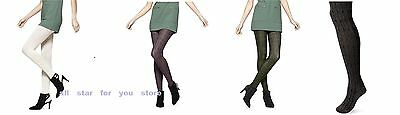 HUE Womens Bold Cable Sweater Tights Olive / Ivory / Purple / Black SZ S/M, M/L