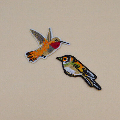Embroidered Hummingbirds patch Ironon sew clothes sparrow Applique badge Bag DIY