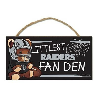 "Oakland Raiders Littlest Fan 5""x10"" Fan Cave Wood Sign Authentic NFL Wall Decor"