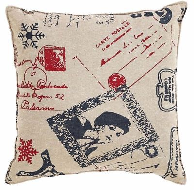 """Joyeux French Country Christmas Pillow 12"""" Square Tan Red Black Cotton Shell"""